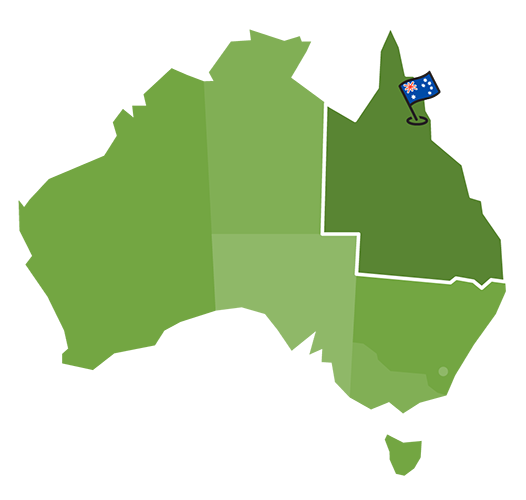 Map of Australia with a marker on the Daintree Forest